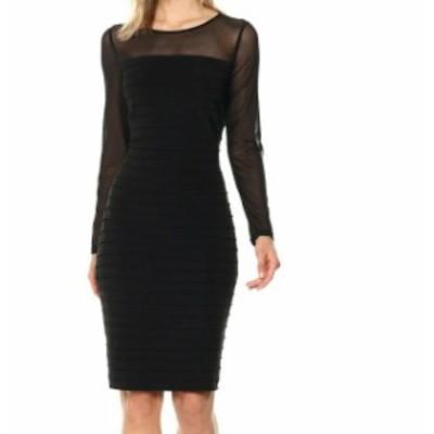 Adrianna Papell アドリアーナ パペル ファッション ドレス Adrianna Papell Womens Dress Black Size 4 Sheath Jersey Pintucked Mesh