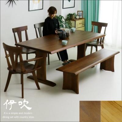 ダイニングテーブルセット 6人掛け 6点 幅180 ベンチ エコ塗装 北欧 モダン タモ木製 人気