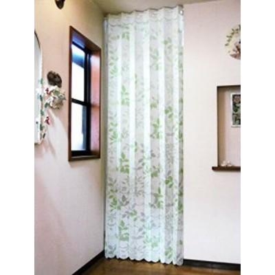 【新品】遮熱断熱 間口を仕切って冷暖房効率アップ ロングアコーディオンカーテンのれん「リーフ」 幅105丈250cm (グリーンリーフ)