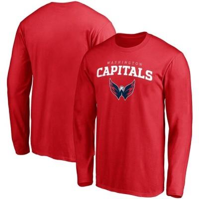 ワシントン・キャピタルズ Fanatics Branded Team Logo Lockup Long Sleeve T-シャツ - Red