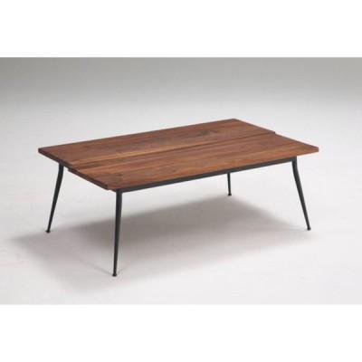 送料無料  センターテーブル ウォールナット 長方形 無垢材 アイアン脚 オイル仕上げ 幅100