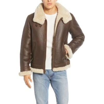 アグ UGG メンズ レザージャケット アウター Auden Genuine Shearling Trim Leather Aviator Jacket Chestnut
