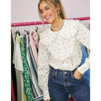 モンキ Monki レディース ブラウス・シャツ トップス Maddy organic cotton floral print oversized collar shirt in multi マルチカラー
