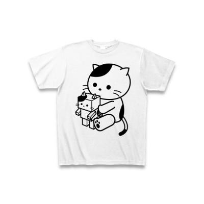 ロボットとねこ Tシャツ(ホワイト)