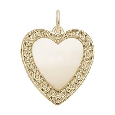 Yellow Gold Scrolled Classic Heart Charm並行輸入品 送料無料