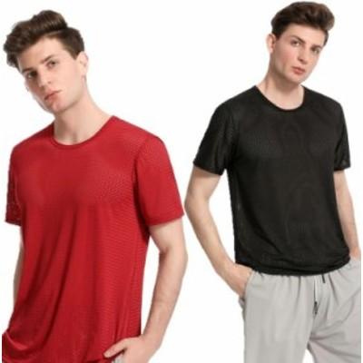 Tシャツ 接触冷感 半袖 メンズ メッシュ編み 通気性 夏 吸汗 速乾 クルーネック 軽量 ストレッチ インナーシャツ 快適 薄手 透け