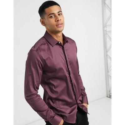 エイソス メンズ シャツ トップス ASOS DESIGN slim fit sateen shirt in berry Berry