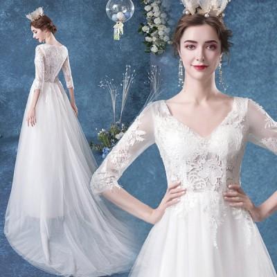 ウエディングドレス aライン 安い ホワイト ロングドレス 結婚式 花嫁 ブライダル 二次会 ドレス 発表会 ロングドレ ウエディングドレス 演奏会 トレーン