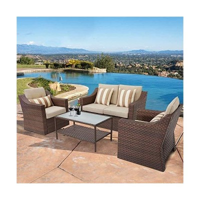 Incbruce 4Pcs Outdoor Patio Sofa Set PE Rattan Wicker Conversation Set with Sophisticated Glass Coffee Table and Soft Cushions (Brown)【並