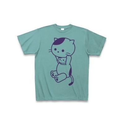 着ぐるみバイト和猫(ふじ色) Tシャツ(ミント)
