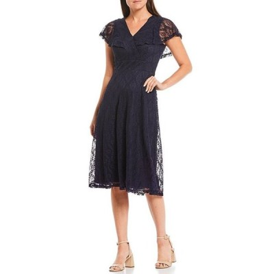 ジェシカハワード レディース ワンピース トップス Petite Size Lace V-Neck Flutter Sleeve A-Line Midi Dress