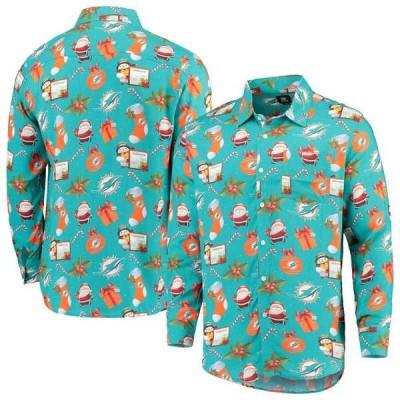 フォコ シャツ トップス メンズ Miami Dolphins Winter Explosion Long Sleeve Woven Button-Up Shirt Aqua