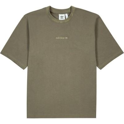 アディダス ADIDAS ORIGINALS メンズ Tシャツ トップス brown logo-embroidered cotton t-shirt Brown
