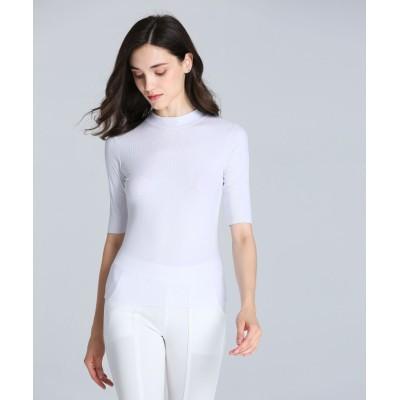 (ALWAYS/オルウェイズ)シームレスインナー[AIR COOL] ハイネック 五分袖Tシャツ/レディース ホワイト
