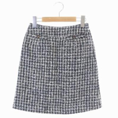 【中古】ナチュラルビューティーベーシック NATURAL BEAUTY BASIC 台形スカート ツイード ミニ XS 黒 グレー ベージュ