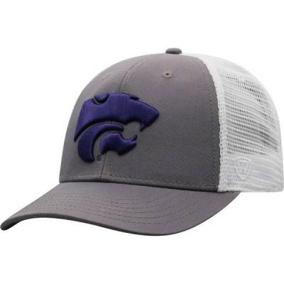 トップオブザワールド メンズ 帽子 アクセサリー Top of the World Men's Kansas State Wildcats Grey/White BB Two-Tone Adjustable Hat