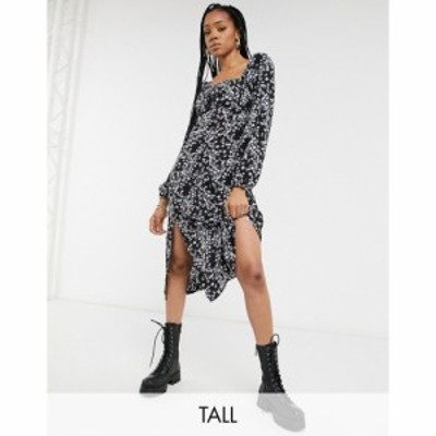 ミスガイデッド Missguided Tall レディース ワンピース ワンピース・ドレス milkmaid midi dress in floral print パープル