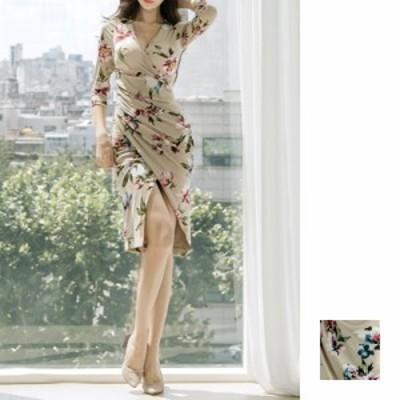 韓国 ファッション レディース ワンピース パーティードレス ひざ丈 ミディアム 夏 春 秋 パーティー ブライダル naloA701 結婚式 お呼ば