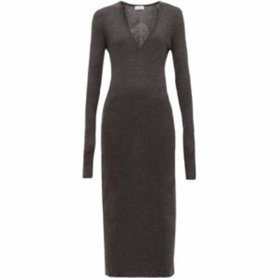 レイ Raey レディース ワンピース ワンピース・ドレス Deep-V fine-rib cashmere dress Charcoal grey