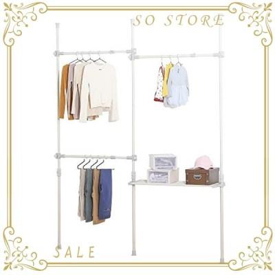 衣類 収納 洋服かけ スタンド ポール 伸縮棒 ワードローブ 幅215cm 高さ310 (調整可能)