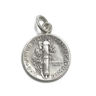 ペンダントトップ シルバー925 マーキュリーダイム10セント硬貨ペンダント 表面:ファスケス 裏面:女神 ペンダントヘッドのみ|コイン レディース メンズ