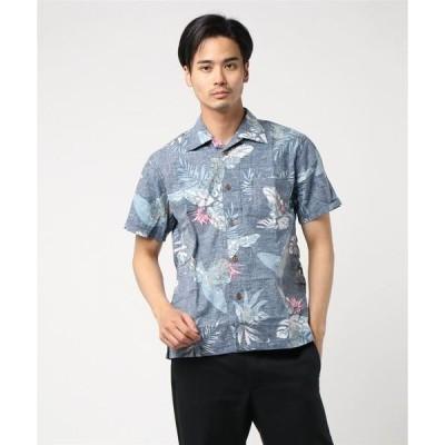 シャツ ブラウス 【BLUE STANDARD】綿アロハシャツ/オープンカラー/開襟