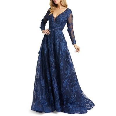 マックダガル ワンピース トップス レディース Embellished Floral-Appliqué Gown Navy