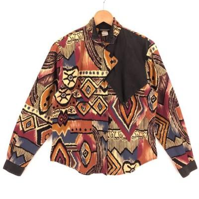 【古着】 ROUGH RIDER ウエスタンシャツ デザインもの エスニック柄 made in USA 80年代 ヴィンテージ 長袖 ブラウン系 レディースL 【中古】 n025569