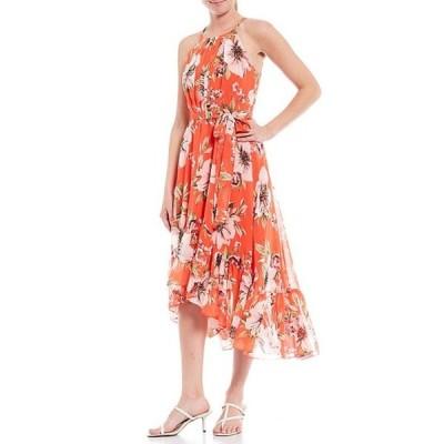 ヴィンスカムート レディース ワンピース トップス Halter Neck Sleeveless Floral Print Tie Waist Asymmetric Hem Midi Dress