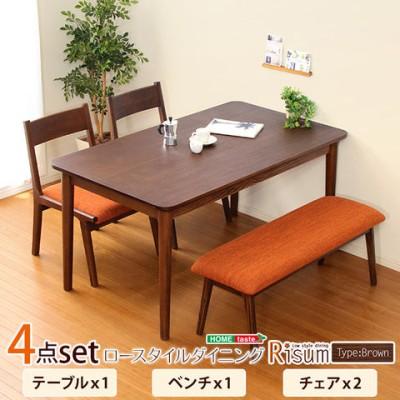 ダイニング4点セット(テーブル+チェア2脚+ベンチ)ナチュラルロータイプ ブラウン 木製アッシュ材|Risum-リスム-/ブラウン/
