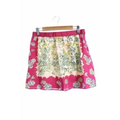 【中古】ジルスチュアート JILL STUART スカート 台形 ミニ 総柄 シルク 絹 2 ピンク /JN14 レディース