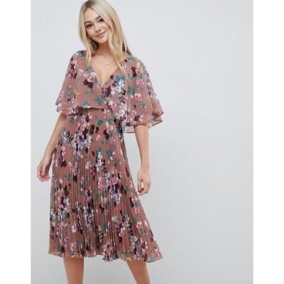 エイソス レディース ワンピース トップス ASOS DESIGN flutter sleeve midi dress with pleat skirt in floral print Taupe floral