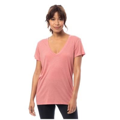 オルタナティヴ Alternative レディース Tシャツ Vネック トップス Melange Burnout Jersey Slinky V-Neck Rose Bloom