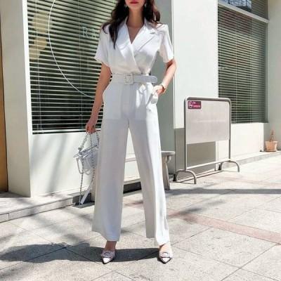 オールインワン S-XL パンツドレス 予約 半袖 袖あり オーバーオール Vネック ワイドパンツ 726907 体型カバー 着痩せ 無地 白 ホワイト
