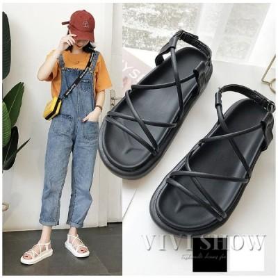 レディース フラットサンダル サンダル 歩きやすい 疲れにくい 靴 可愛い カジュアル 編み上げ 新作
