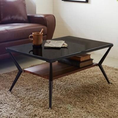 センターテーブル 幅80cm ガラス 強化ガラス 棚板 収納 テーブル ローテーブル 机 ( つくえ 座卓 ガラステーブル リビングテーブル モダ