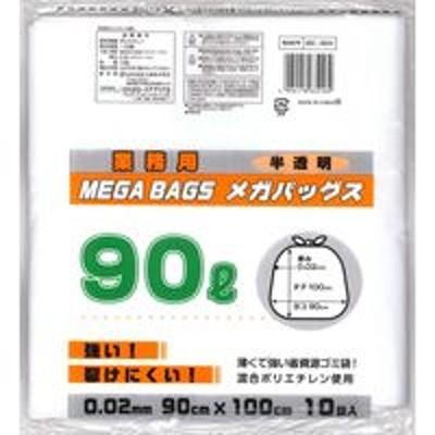 日本技研メガバッグス 半透明 90L10P ME-90H 1セット(300枚:1袋10枚入×30袋) 日本技研(取寄品)