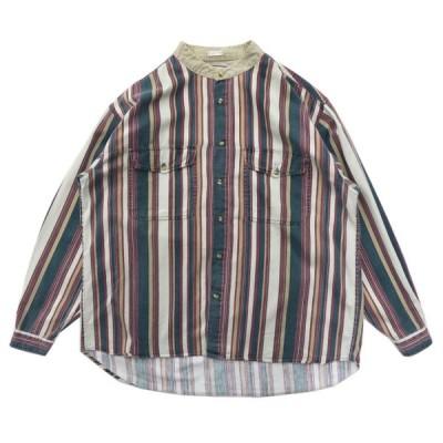 ストライプ デザインシャツ バンドカラー ノーカラー サイズ表記:M