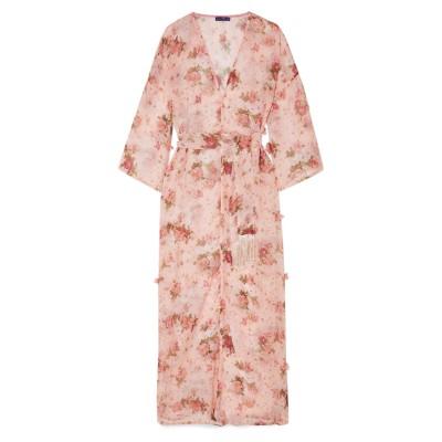 ELENA MAKRI ビーチドレス ピンク one size アセテート 70% / シルク 30% ビーチドレス