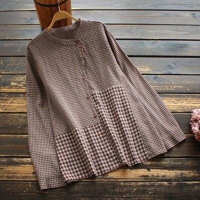 シャツ ブラウス レディース 春秋 きれいめ 40代 綿麻 ギンガムチェック柄 立ち襟 長袖 トップス j96916
