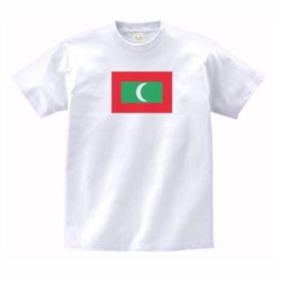 国 国旗 Tシャツ モルディブ 白