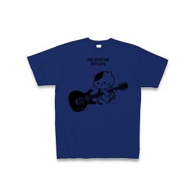 エレキギターを弾くねこ Tシャツ(ロイヤルブルー)