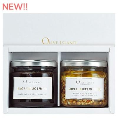 調味料ギフト 黒にんにくスプレッド140g/限定ナッツ&フルーツオイル130g 計2個セット/ギフトBOX入り 送料無料 小豆島 オリーブアイランド oliveisland