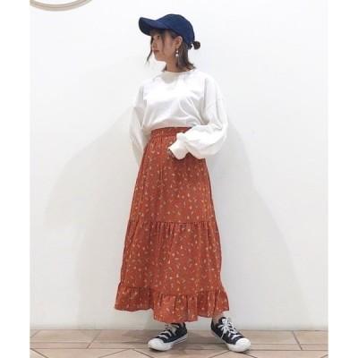 ・花柄ティアードスカート ●