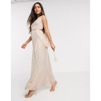 アメリアローズ レディース ワンピース トップス Amelia Rose Bridesmaid embellished wrap cape sleeve maxi dress in rose gold Rose gold