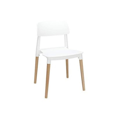 "OFM 161 Collection Mid Century 4 Pack Modern 18"" Plastic Molded Dining Chairs, Solid Natural Wood Legs, in White"