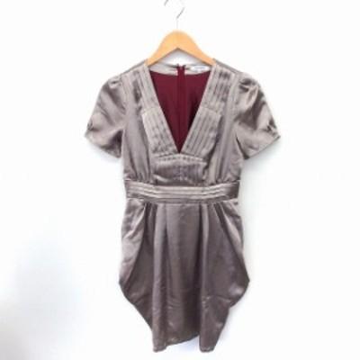 【中古】ギルドプライム GUILD PRIME ワンピース ドレス シャーリング 光沢 半袖 ひざ丈 34 ゴールド /FT32 レディース