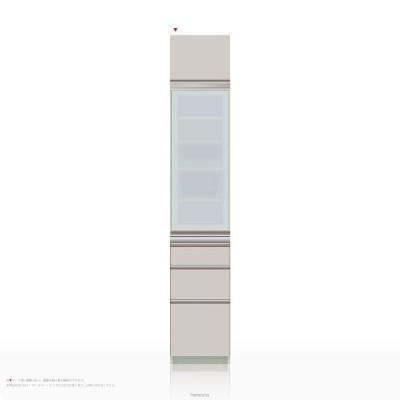 上棚付き食器棚 キッチンボード パモウナ MEシリーズ ME-S400KL [開き扉] (幅40cm, 奥行き45cm, 左開き仕様, シルキーアッシュ色)