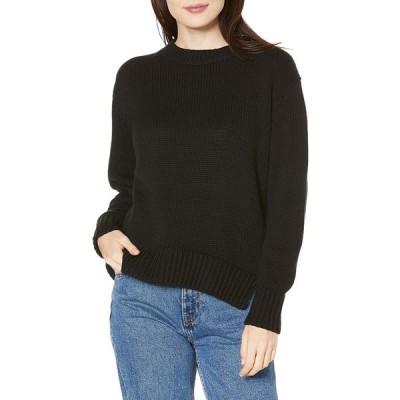 Daily Ritual (デイリー リチュアル) レディース コットン100% 厚手 長袖 クルー プルオーバー セーター, ブラック, M (日本