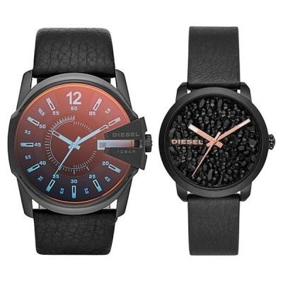 ディーゼル ペアウォッチ メンズ レディース マスターチーフ フレアロック ブラック 革ベルト レザー DZ1657DZ5598 あすつく 腕時計